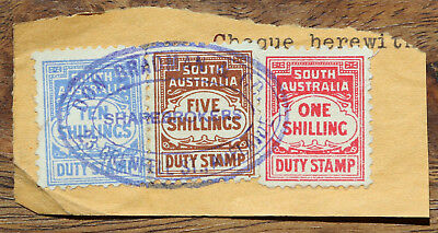 SA Duty stamps. Don Bradman & Co cancellation. High values
