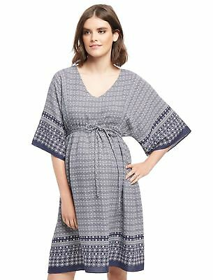 Wendy Bellissimo Keyhole Detail Maternity Dress Blue/White V Neck Bohemian M