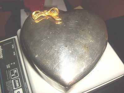 Vintage Silver Tone HEART SHAPED Trinket Jewelry Box with brass Bow on Lid.