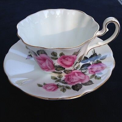 Adderley Pink/black Rose Fluted teacup and saucer FREE SHIPPING