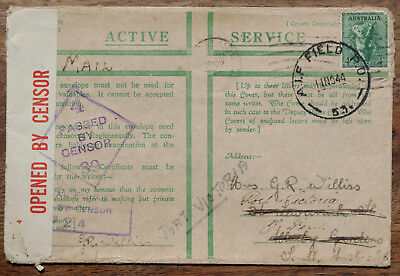 1944 Active service cover Field PO postmark, censor cancellations