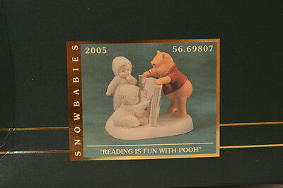 "Department 56 Snowbabies ""READING IS FUN WITH POOH""MIB Figurine 2005 DISNEY RARE"