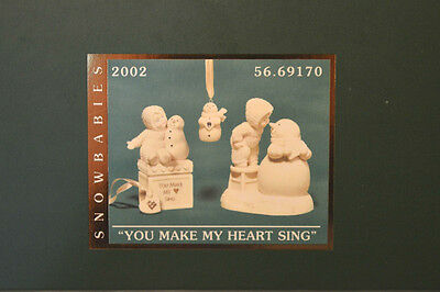 "Department 56 Snowbabies ""YOU MAKE MY HEART SING"" NIB 2002 FIGURINE ORNAMENT"