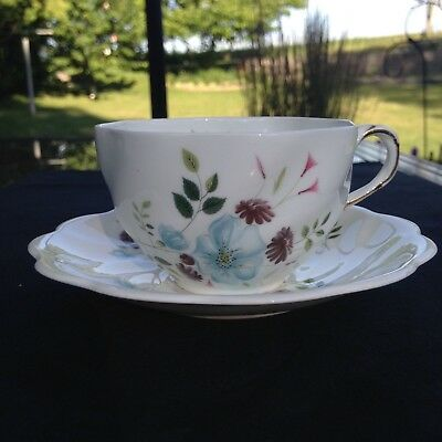 Royal Swansea Pale blue flowers swirl teacup and saucer FREE SHIPPING