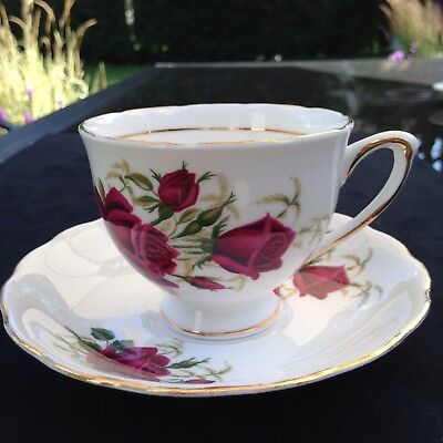 Colclough Deep red Roses teacup and saucer FREE SHIPPING