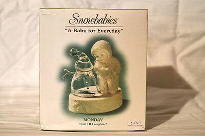 "Department 56 Snowbabies ""A Baby For Everyday"" Monday, Full of Laughter. NIB"