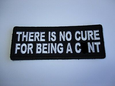 There is no cure.......Embroidered Patch Sew/Iron Rider biker Motorcycle vest