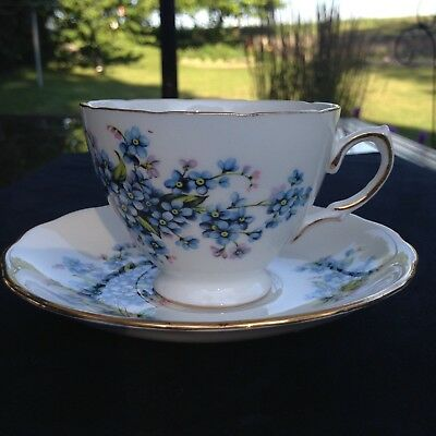 Royal Vale (Colclough) china blue flowers tea cup and saucer FREE SHIPPING