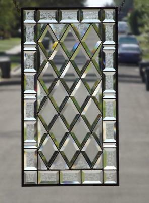 """••Through the Centuries ••100% Beveled Stained Glass Window Panel • 24 ¾"""" x 13 ½"""