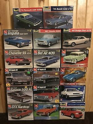 Lot of 17 Vintage AMT / Revell model kits 1/25 scale !!!