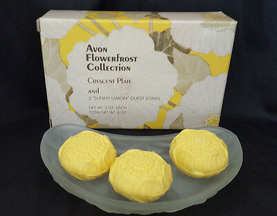 Avon Flowerfrost Collection MIB 1970's Crescent Plate  w Soaps