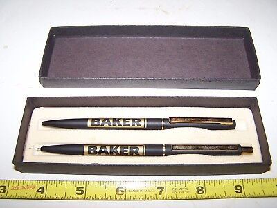 Old BAKER MONITOR Pen Pencil Set Evansville WI Hit Miss Gas Engine Pump NICE!