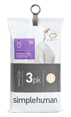 simplehuman Bin Liner Code Q 3 x 20 Pack 60 Liners -From the Argos Shop on ebay