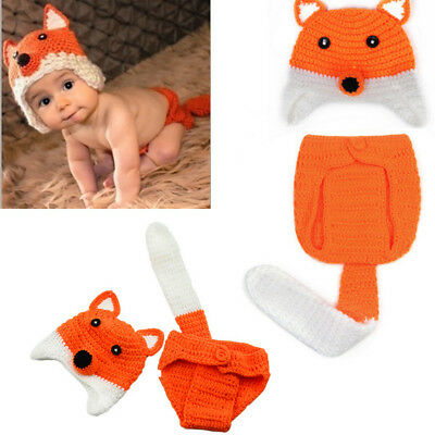 Newborn Baby Girl Boy Fox Crochet Knitted Hat Photo Photography Cap Outfit Prop