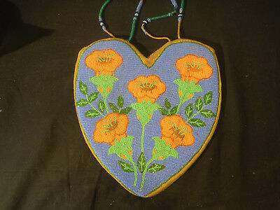 Native American Nez Perce Plateau Beaded Pouch/purse Heart Shape,vivid Colors