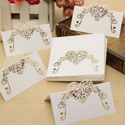 50pcs Laser Cut Heart Shape Table Name Card Place Card Wedding Party Decorations