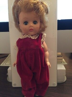 Vintage GINNY doll Vogue Dolls early 1960s w/ red velvet outfit