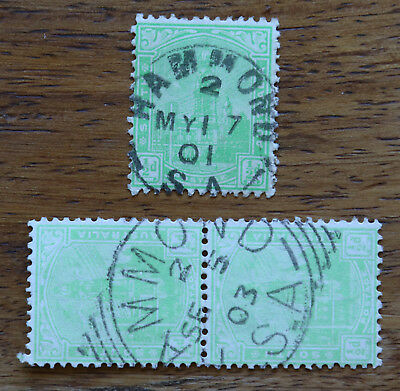 SA square circle postmarks showing two different Hammond