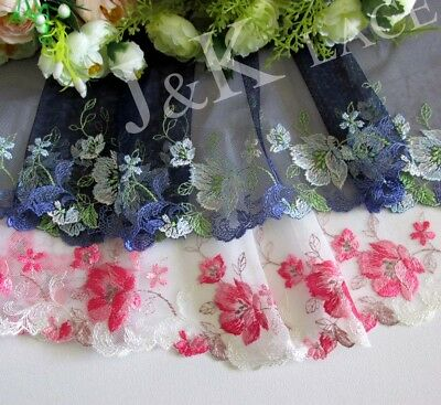 14 cm width Pretty Pink / Navy Embroidery mesh Lace Trim