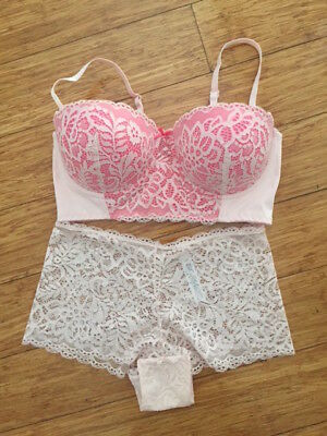 Gorgeous And So Pretty Pink Lace Longline Bra 10D And Brazilian Knicker 10