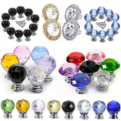 30/40mm Crystal Glass Door Knob Drawer Cabinet Furniture Kitchen Handle Pull
