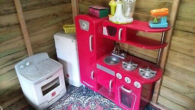Cubby house furniture kitchen toadstool setting food fridge oven chalkboard