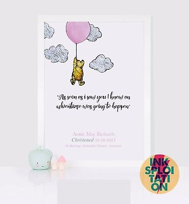 Winnie the Pooh Bear Personalised Print New Baby Birth Nursery Christening Gift