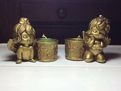 Vintage Giftcraft Gold Angel ceramic candle holders