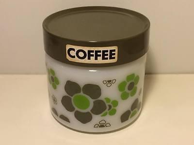 Vintage Anchor Hocking daisy green coffee canister spring time