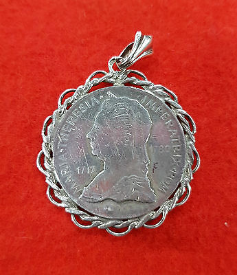 Austrian German Silver Pendant Medallion Coin Maria Theresia 1717 To 1780