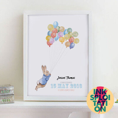 Personalised Peter Rabbit Beatrix Potter Christening Gif Nursery New Baby Print