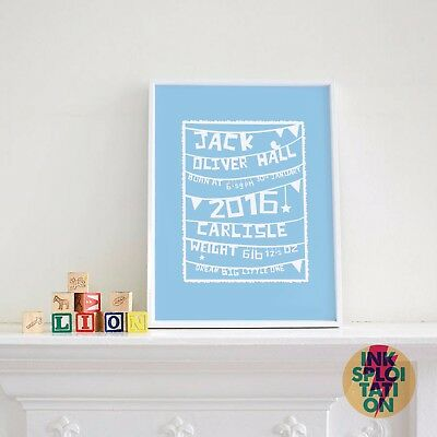 Personalised Christening Print / Naming Day Print / Shabby chic nursery gift