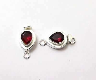 2 Pcs Red Garnet Stone Box Clasp 23X12Mm 1 Strand Sterling Silver Plated#750