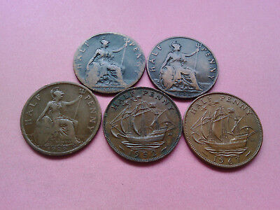 Five UK British Monarch Coins Half Penny Collection Set Year 1896 to 1967 (T808)