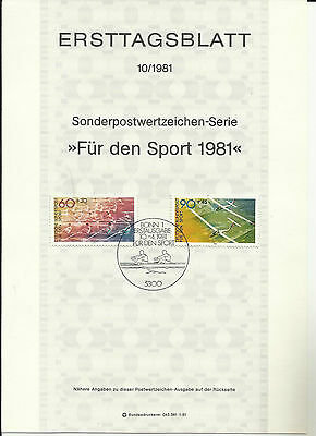 Stamp 1981 Germany For the Sport 2V Athelete Special Post Brochure Sheet