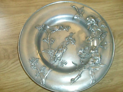 Beautiful Italian Achille Gamba Pewter Wall Plaque/charger,birds & Flowers