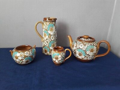 Royal Doulton Lambeth Teapot, Hot Water Jug, Sugar Bowl and Milk Jug Art Nouveau