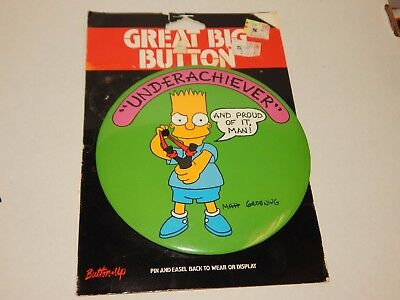 """The Simpsons Big Large Butto Pin & Easel Back NIP Wear Display 6"""" Collect BART"""
