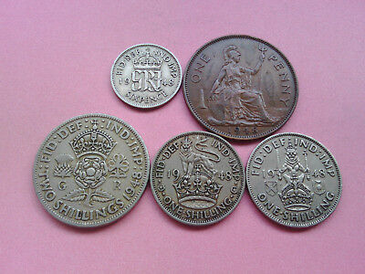 5 UK Coins George VI Year 1948 Collection Bulk Lot Birthday Present Gift (T811)