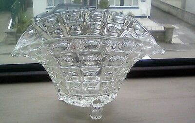 Lovely Unusual Basket Shaped Pressed Glass Bowl - Excellent Condition - Vintage