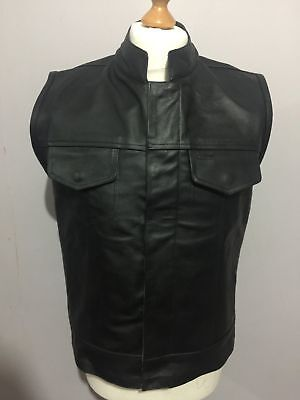 Mens Son Of Anarchy Real Leather Motorcycle Biker Waistcoat