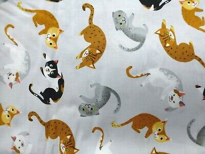 Fat Quarter Whiskers And Tails Cats Kittens On Grey 100/% Cotton Quilting Fabric