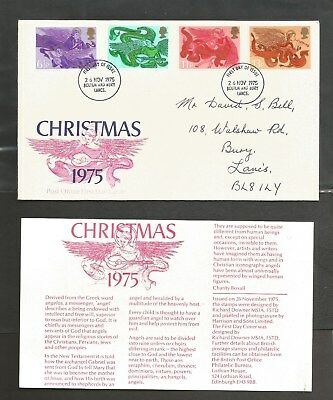 Christmas FDC, Date 26-Nov 1975, Cancellation Bolton & Bury Lancs