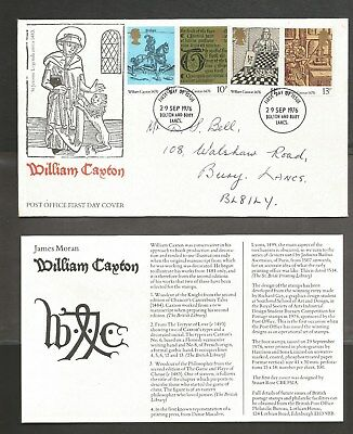 29-September-1976, *** William Caxton 1476*** Post Office FDC.