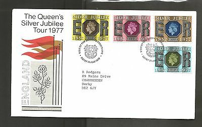 Visit of Elizabeth 11 to Derbyshire Silver Jublee  20-July-1977 Four Stamps