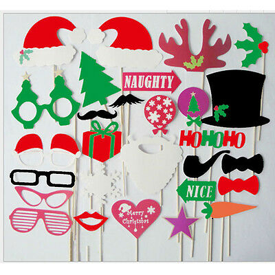 28pcs Photo Booth Props DIY Mustache On Stick Christmas Birthday Party Supplies