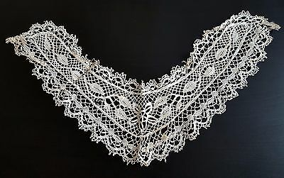 ANTIQUE VINTAGE LACE COLLAR - VICTORIAN Floral Fabric Embroidery Hand Made