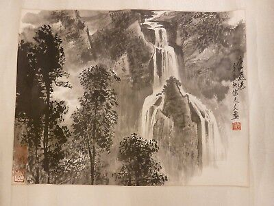Antique Chinese Waterfall Painting