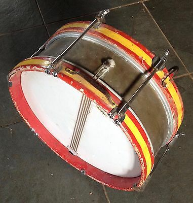 Vintage Spanish marching Snare Drum, brass shell