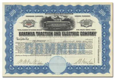 Kanawha Traction and Electric Company Stock Certificate (West Virginia)